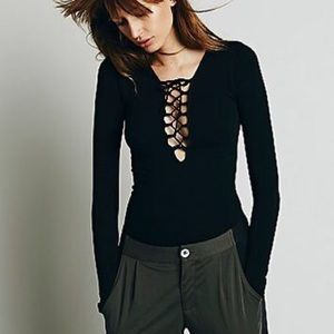 Free People Tie Up Black Longsleeve